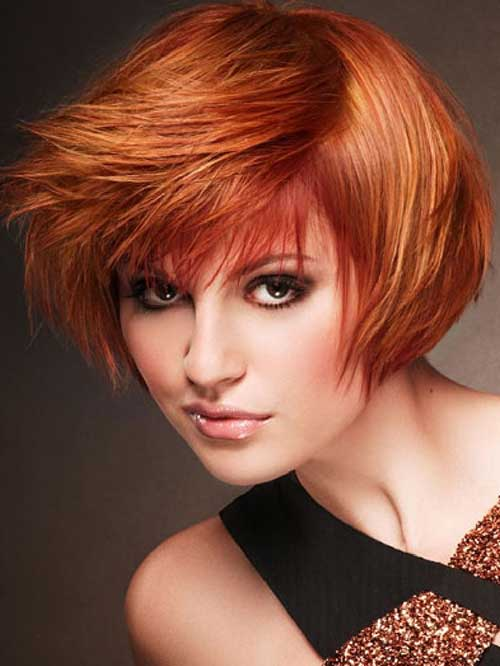 Short Stacked Wedge Copper Pixie Hair