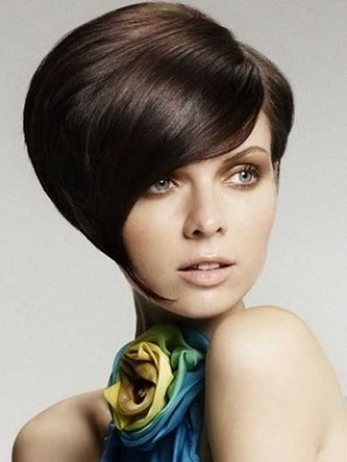 Short Stacked Wedge Voluminous Bob Hairstyle