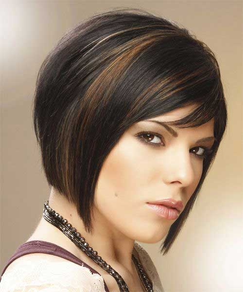 Short Straight Dark Hair Style Round Faces