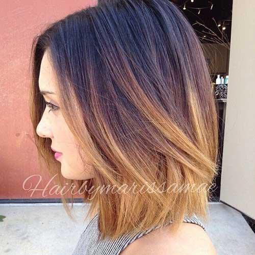 Short Straight Hair Brown and Blonde Ombre Style