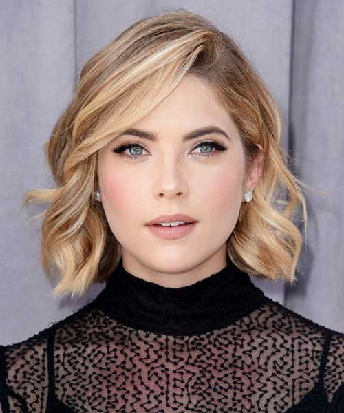Side Swept Highlighted Bob Hairstyles