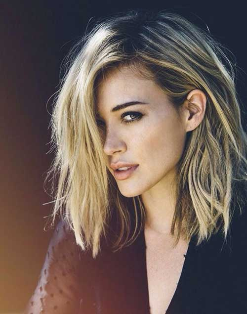 Side Swept Highlighted Messy Bob Hair
