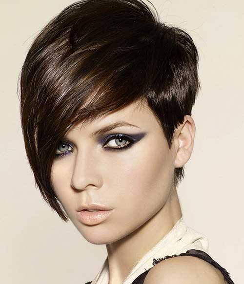 Straight Brown Long Pixie Hair