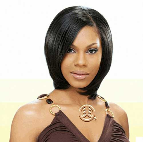 Straight Short Dark Hair for Black Women Cute Round Face