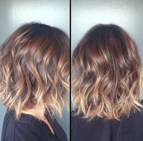 Wavy Short Hair with Blonde Ombre Style Color