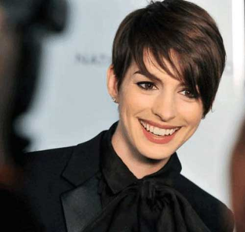 Anne Hathaway Long Pixie Cuts