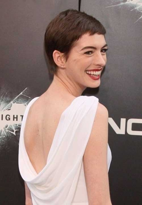Anne Hathaway Pixie Cut Back View Look