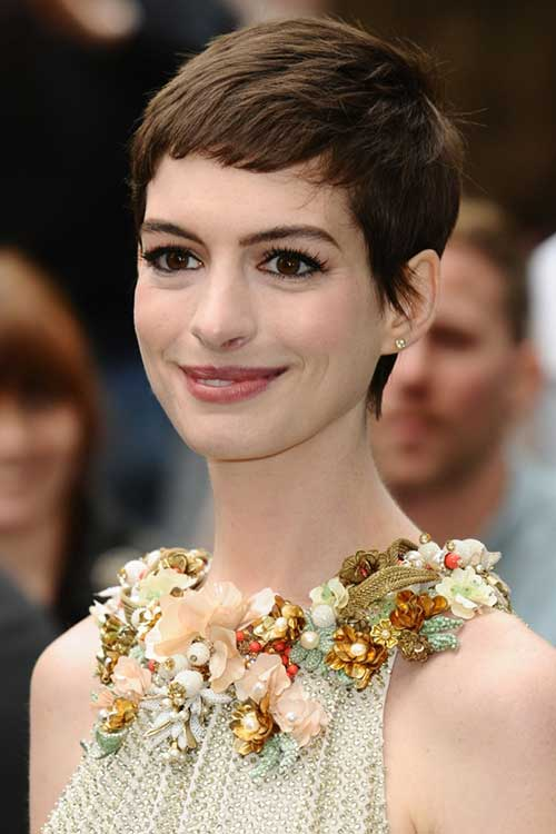 Anne Hathaway Short Pixie Cuts