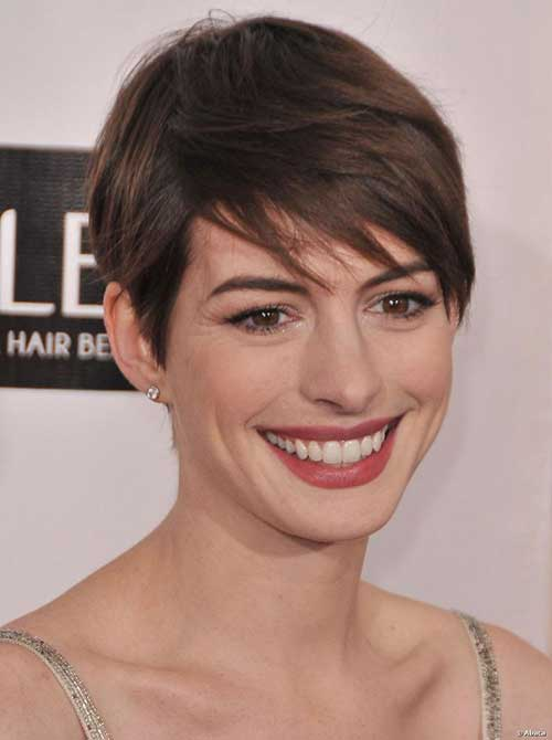 Anne Hathaway Short Straight Pixie Cuts