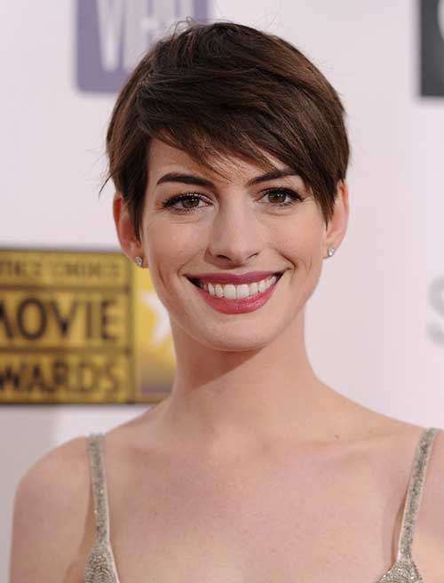 Anne Hathaway Straight Fine Pixie Cut