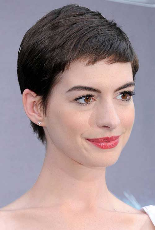 Anne Hathaway Very Short Pixie Cut