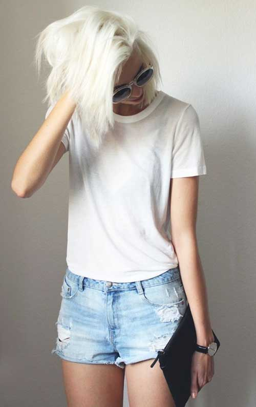 Bleach Blonde Short Bob Hair