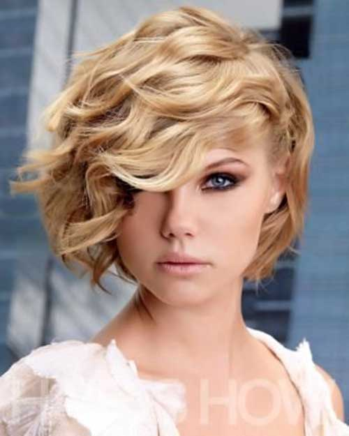 Blonde Asymmetrical Bob for Curly Hairstyle