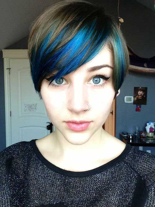 Blue Pixie Haircuts for Short Hairstyle