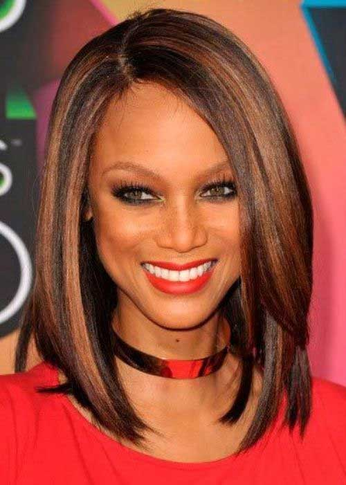 Caramel Highlights on Long Brown Bob Hairstyle