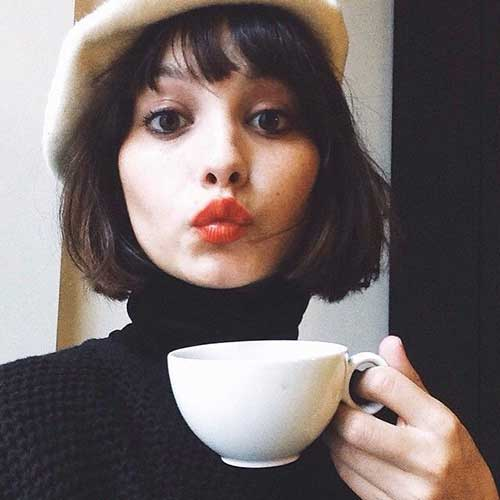 Chin Length Dark Bob Haircut with Bangs