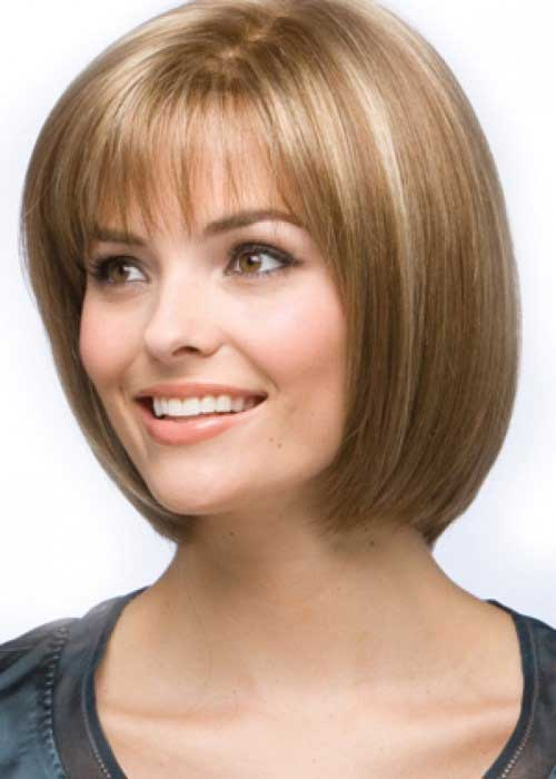 Chin Length Layered Bob Hairstyle With Bangs