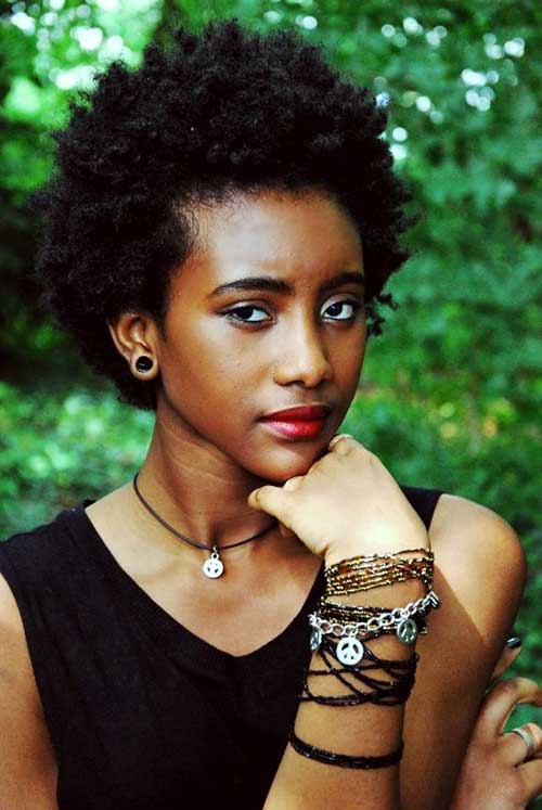 Cute Short Natural Afro Look Hairstyles