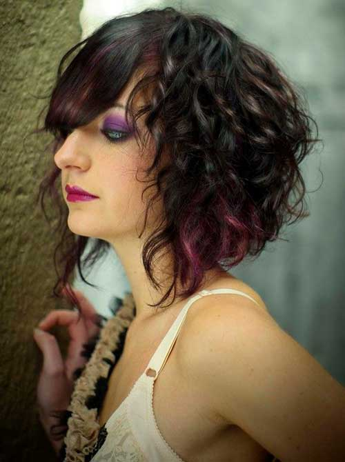 Dark Asymmetrical Bob for Curly Hairstyles