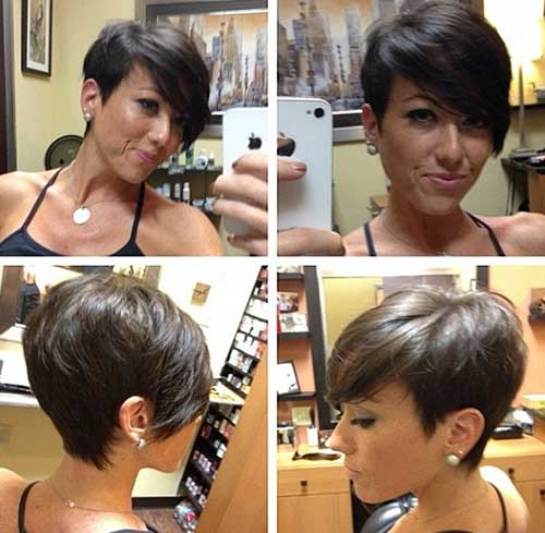 Dark Brown Pixie Cut for Short Hairstyle