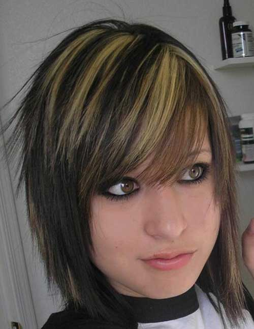Dark Emo Bob Hairstyles with Highlights