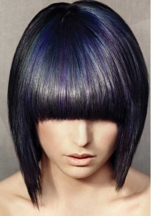 Dark Purple Short Bob Haircuts with Bangs
