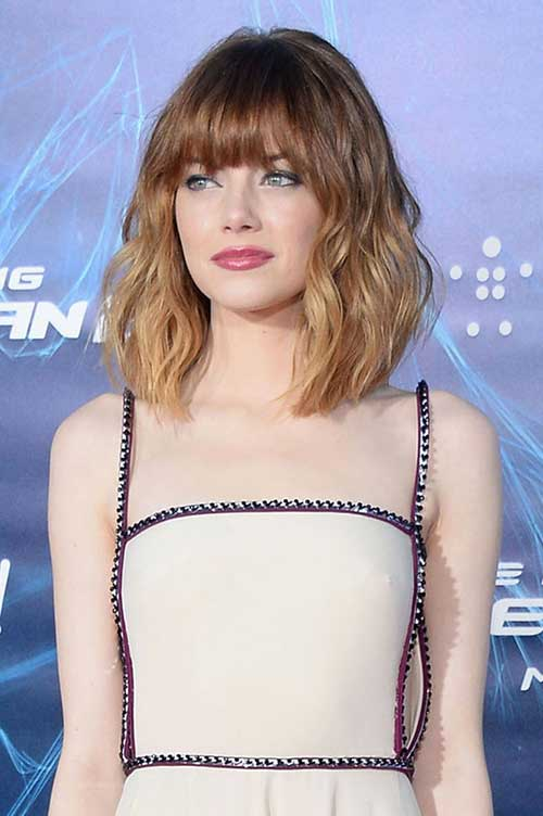 Emma Stone Long Bob Hair Ombre Color