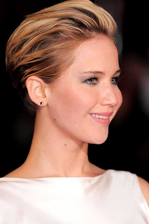 Jennifer Lawrence Slicked Back Short Haircuts