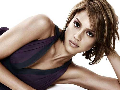 Jessica Alba Choppy Bob Cut