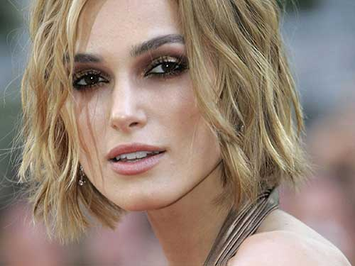 Keira Knightley Blonde Bob Hairstyles with Beach Waves