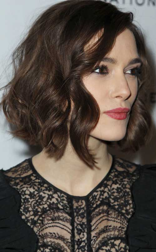 Keira Knightley Curly Brown Bob Hairstyle