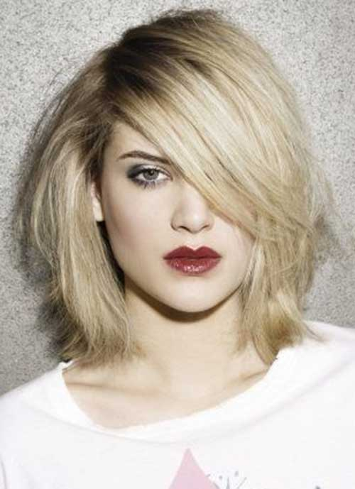 Mid Length Blonde Side Swept Haircuts
