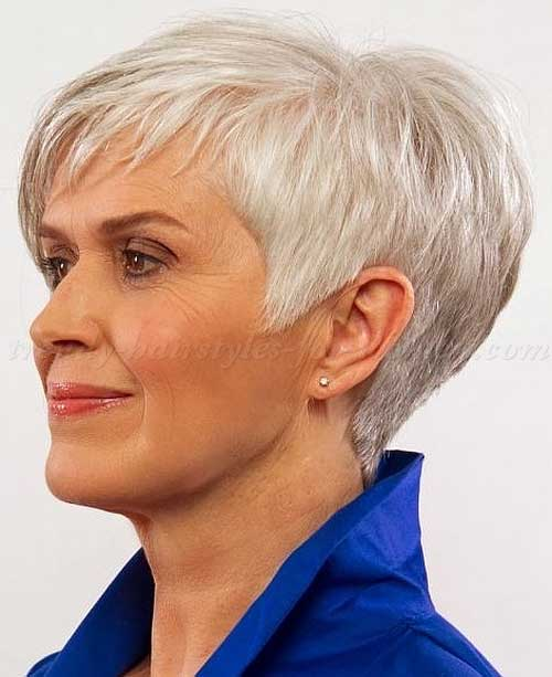 Pixie White Gray Haircut For Older Women