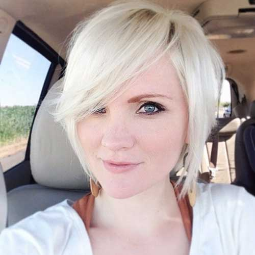Short Bleached Blonde Side Swept Hair