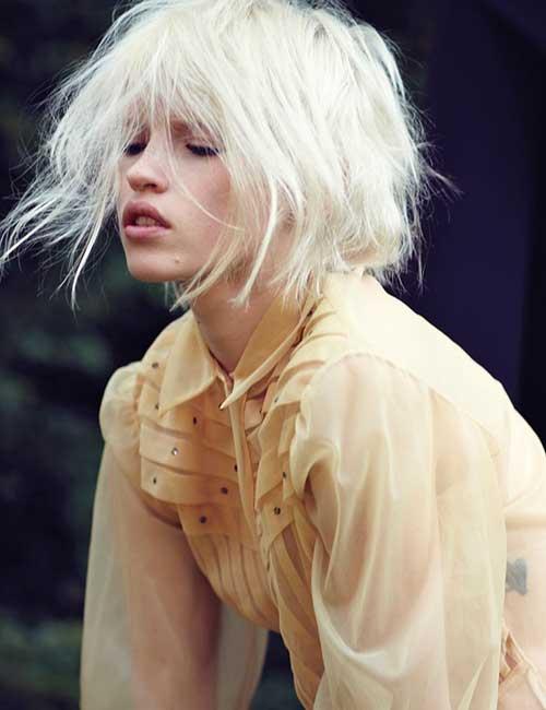 Short Bleached Blonde Inverted Bob Hair