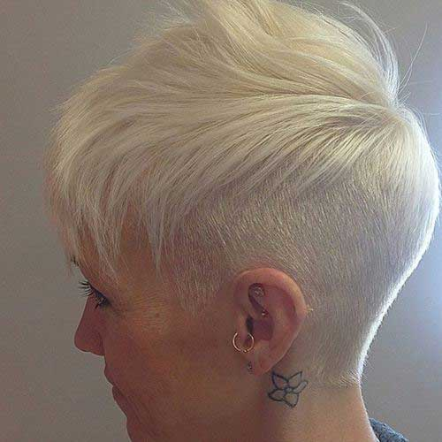 Short Bleached Blonde Pixie Back View