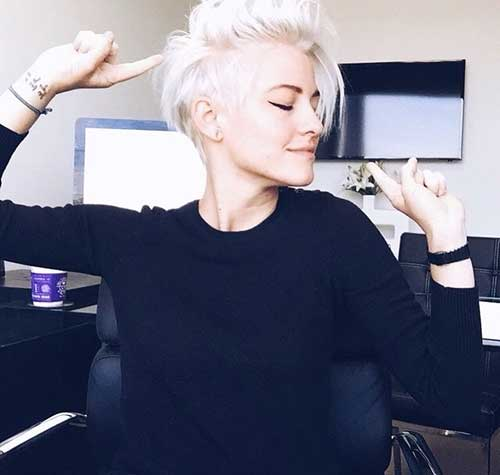 Short Bleached Blonde Pixie Cut Style