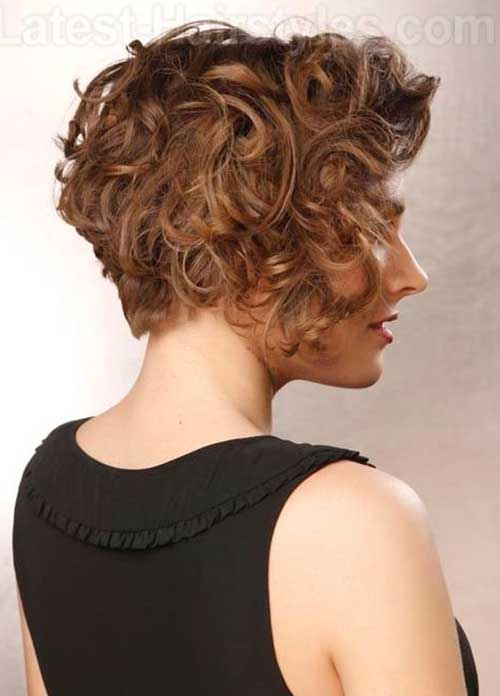 Short Curly Layered Hairstyles Back View