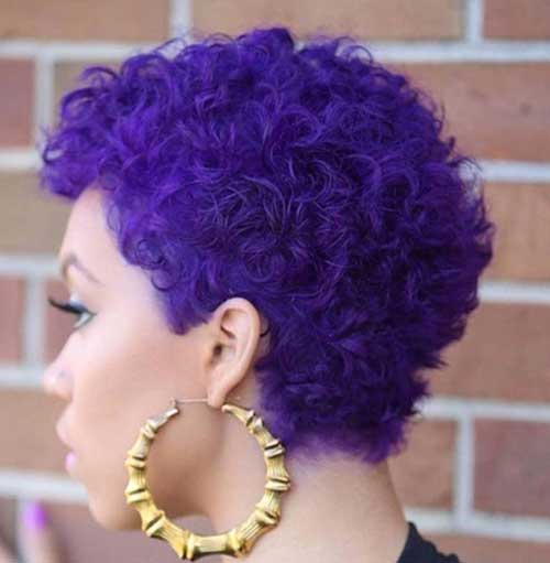 Short Cute Cuts Purple Color Hair
