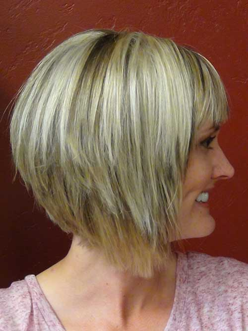 Short Hair Stacked Haircut with Bangs