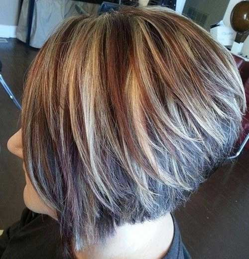 Short Highlighted Hair Stacked Haircuts