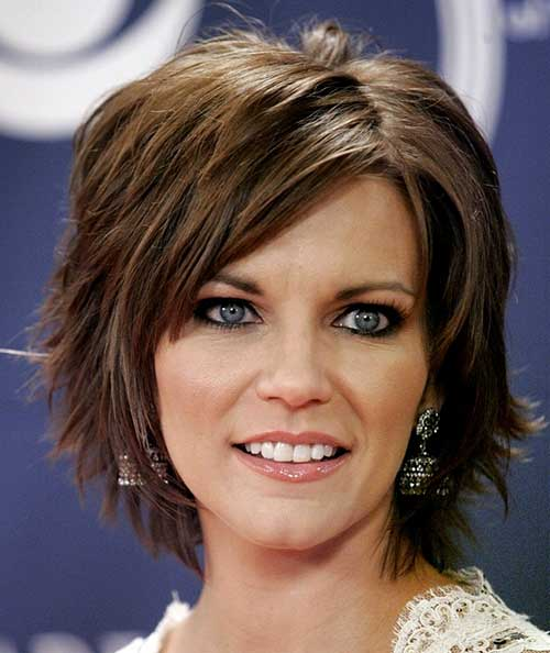 Short Side Swept Brown Hair Women Over 40