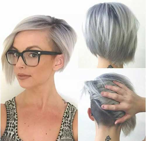 Short Undercut Bob Gray Haircuts