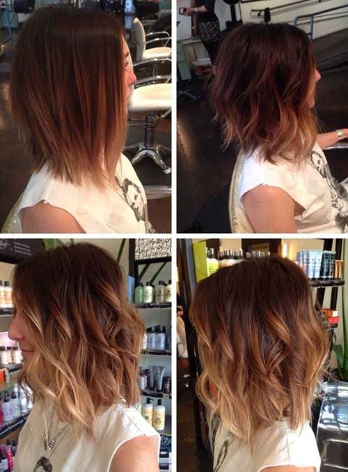 Ombre Hair Brown To Caramel To Blonde Medium Length 20 Short To Mid...