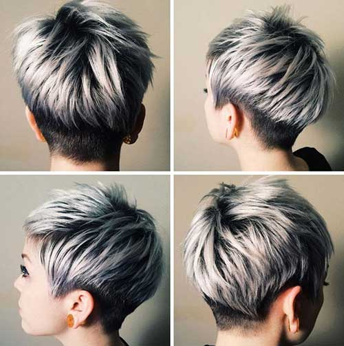 Short Female Hairstyles short layered hairstyle with side bangs Very Short Female Black Silver Haircut