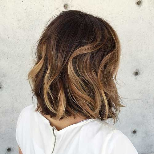 Wavy Ombre Bob Hairstyles Back View