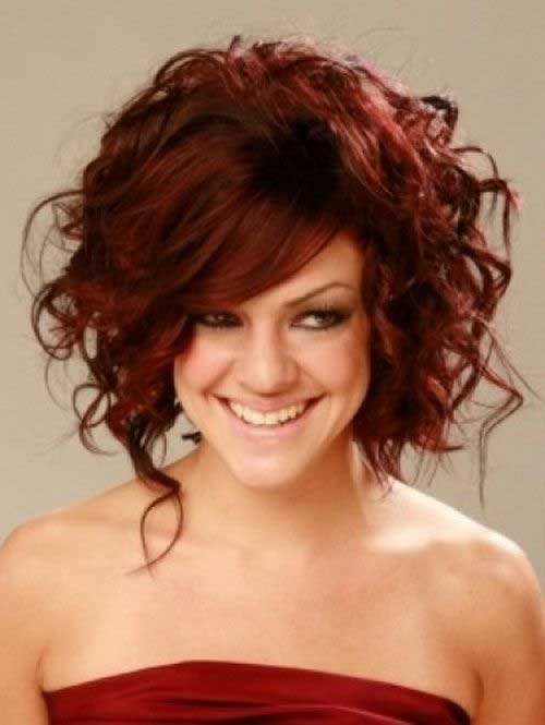 Cute Dark Red Curly Layered Hairstyles