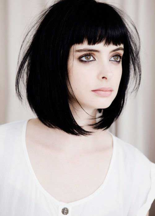 Female Short Blunt Haircuts with Bangs Style