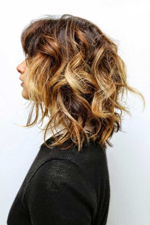 Medium Short Curly Hair Ombre Colored