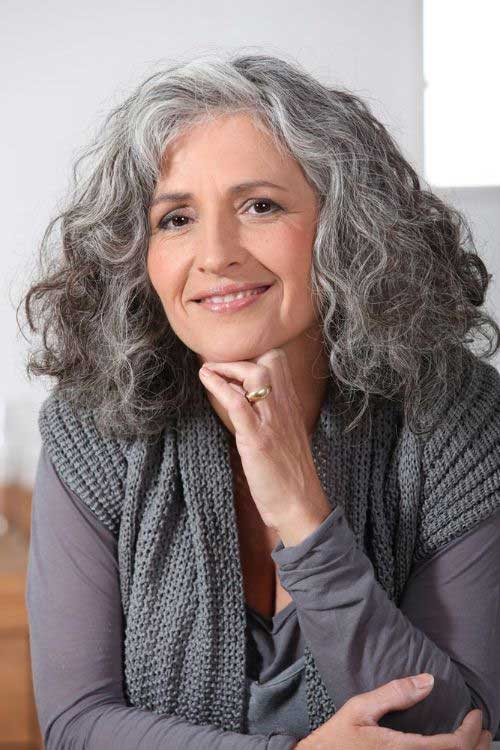 Medium Short Grey Curly Hair For Older Women